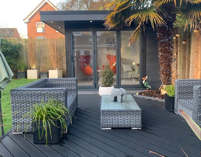 Garden Room In Coventry, With Composite Decking For Outdoor Seating Area Copy